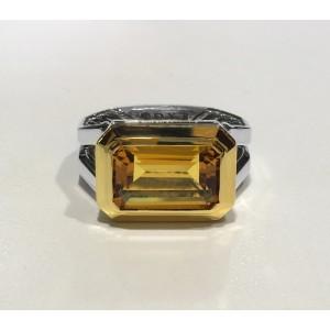 DAVID YURMAN Novella Statement Silver Ring With 18K Gold And Citrine