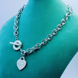 "Tiffany & Co ""Return To Tiffany"" 925 Sterling Silver Heart Tag Toggle Necklace"
