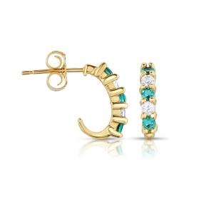 10k Yellow Gold Emerald and White Topaz J Hoop Earrings