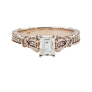 14K Rose Gold with 0.73ct Emerald Cut Diamond Petite Engagement Ring Size 6