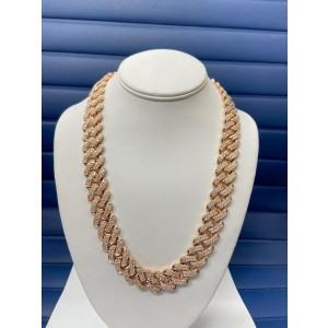 14K Rose Gold Men's  32.06ct Diamond Link Necklace