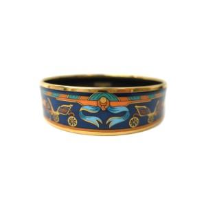 Hermes Cloisonne Gold Tone Metal Large Bangle Bracelet