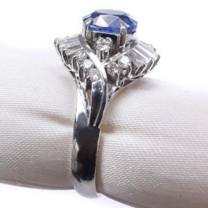 Platinum/diamond sapphire Ring