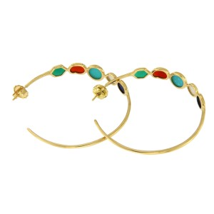 Ippolita Riviera Sky 18K Yellow Gold Rock Candy Multi-Stone Hoop Earrings