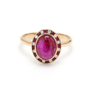 18K Yellow Gold with 2.18ct. Ruby and 0.08ct. Diamond Ring Size 6