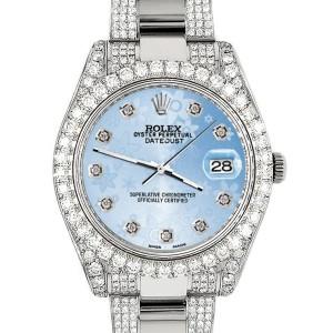 Rolex Datejust II 41mm Diamond Bezel/Lugs/Bracelet/Blue Flower Diamond Dial Steel Watch 116300