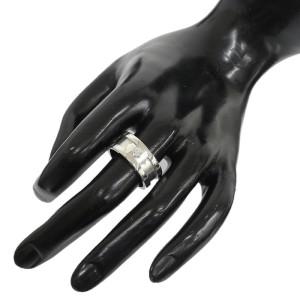 Cartier 18K White Gold Diamond 2C Motif Band Ring Size 9