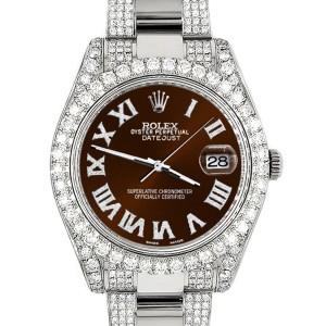 Rolex Datejust II 41mm Diamond Bezel/Lugs/Bracelet/Chocolate Roman Dial Steel Watch 116300