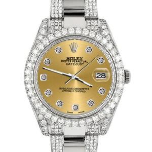 Rolex Datejust II 41mm Diamond Bezel/Lugs/Bracelet/Champagne Diamond Dial Steel Watch 116300