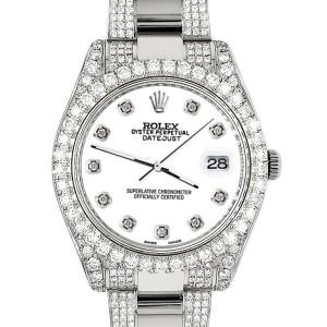 Rolex Datejust II 41mm Diamond Bezel/Lugs/Bracelet/White Diamond Dial Steel Watch 116300
