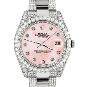 Rolex Datejust II 41mm Diamond Bezel/Lugs/Bracelet/Royal Pink MOP Diamond Dial Steel Watch 116300
