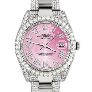 Rolex Datejust II 41mm Diamond Bezel/Lugs/Bracelet/Pink Flower Roman Dial Steel Watch 116300