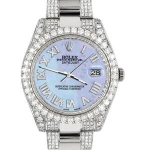 Rolex Datejust II 41mm Diamond Bezel/Lugs/Bracelet/Purple MOP Roman Dial Steel Watch 116300