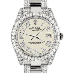 Rolex Datejust II 41mm Diamond Bezel/Lugs/Bracelet/Linen White Roman Dial Steel Watch 116300