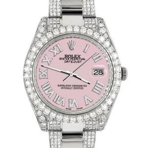 Rolex Datejust II 41mm Diamond Bezel/Lugs/Bracelet/Orchid Pink Roman Dial Steel Watch 116300