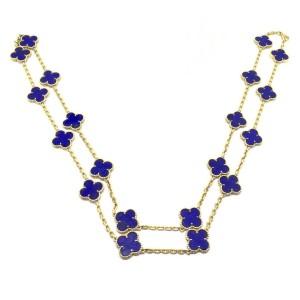 Van Cleef & Arpels 18K Yellow Gold Alhambra 20 Motif Lapis Lazuli Necklace