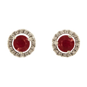 14K White Gold with 1.00ct Ruby and 0.5ct Diamond Stud Earrings