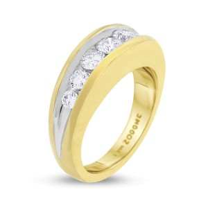 14k Yellow Gold 1.02ct. Diamond Men's Ring Size 7