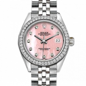 Rolex Datejust Stainless Steel with Custom Bezel and Pink MOP Dial 36mm Unisex Watch