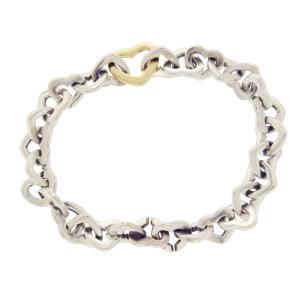 Tiffany & Co. Co 18k Gold Sterling Silver Heart Link Bracelet