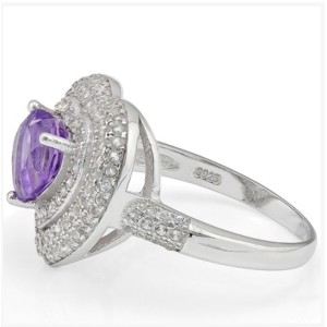 925 Sterling Silver Purple Amethyst and 0.07ct. Diamonds Synthetic White Sapphire Ring Size 8