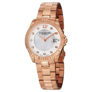 Stuhrling Clipper 498.11447 Rose-Tone Stainless Steel & MOP 35mm Watch