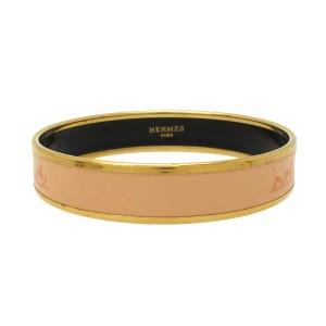 Hermes Gold-Tone Pink Bangle Bracelet