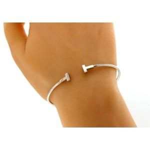 Tiffany Co 18k White Gold T Wire Bangle Bracelet Tiffany Co Buy At Truefacet