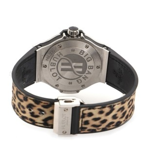 Hublot Big Bang Quartz Watch Stainless Steel with Diamond Bezel and Leopard Print Rubber 38