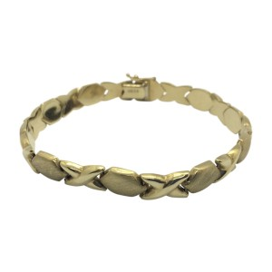 14k Yellow Gold Hexagon and X Shaped Link Bracelet