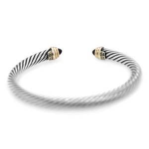 David Yurman Cable Bracelet with Black Onyx and 14K Yellow Gold 5mm