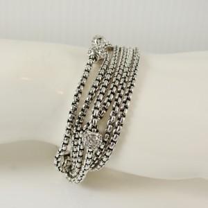 David Yurman Sterling Silver 18K Yellow Gold 1.00tcw 6-Row Box Chain Pave Diamond Ball Bracelet