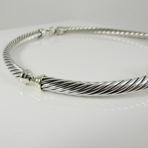 David Yurman Sterling Silver 14K  Yellow Gold 7mm Thoroughbred Cable Buckle Necklace