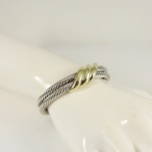 David Yurman Sterling Silver 14K Yellow Gold 2-Row Wave Cuff  Bracelet