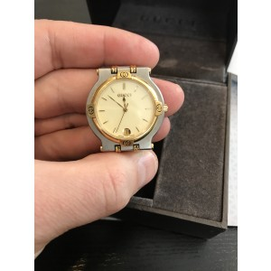 Gucci 9000M Stainless Steel & Gold Plated Cream Dial 32mm Mens Watch