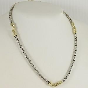 "David Yurman Sterling Silver 18K Yellow Gold 16"" 4mm Box Chain Buckle Necklace"