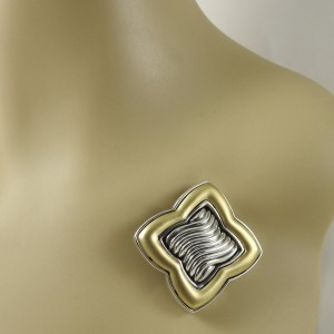 David Yurman Sterling Silver 18K Matte Yellow Gold Large Quatrefoil Pin