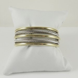 David Yurman Bamboo Cuff 18K Yellow Gold 925 Sterling Silver Bracelet