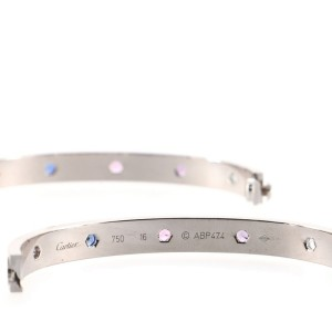 Cartier Love 10 Stone Bracelet 18K White Gold with Aquamarine and Sapphires and Spinels with Amethyst