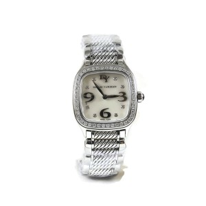 David Yurman Stainless Steel Sterling Silver .54tcw 25mm Quartz Mother of Pearl Diamond Dial Diamond Bezel Thoroughbred Numbers Watch
