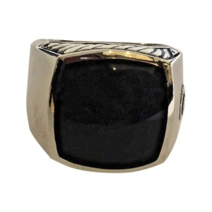 David Yurman Sterling Silver with Black Onyx Inlay Exotic Stone Signet Ring Size 8.5