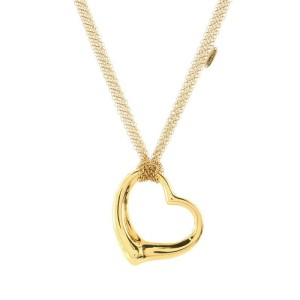Tiffany & Co. Elsa Peretti Open Heart Mesh Pendant Necklace 18K Yellow Gold 36mm