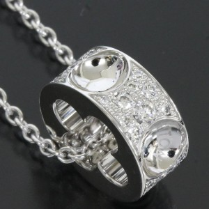Louis Vuitton 18K White Gold Pave Diamonds Empreinte Pendant Necklace