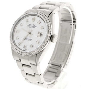 Rolex Datejust 36MM Automatic Stainless Steel Oyster Mens Watch w/MOP Diamond Dial & Bezel