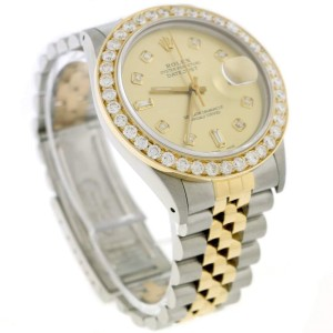 Rolex Datejust 2-Tone 18K Gold/SS 36mm Automatic Jubilee Watch with Diamond Dial & 2.70Ct Bezel