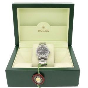 Rolex Datejust Midsize 31MM Automatic Stainless Steel Oyster Watch w/Black Roman Dial & Diamond Bezel
