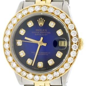 Rolex Datejust 2-Tone 18K Gold/SS Midsize 31mm Womens Watch w/Caribbean Blue Diamond Dial & 2.25Ct Bezel