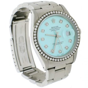 Rolex Datejust 36MM Automatic Stainless Steel Oyster Watch w/Ice Blue Diamond Dial & Bezel