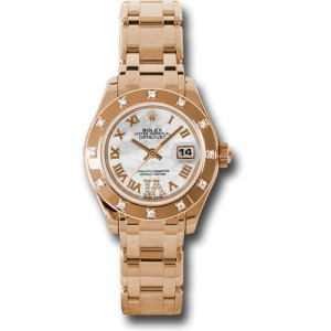 Rolex Datejust Mother of Pearl Roman Diamond Dial 18kt Pink Gold Ladies Watch