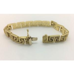 14k Yellow Gold Greek Key Link Chain Bracelet